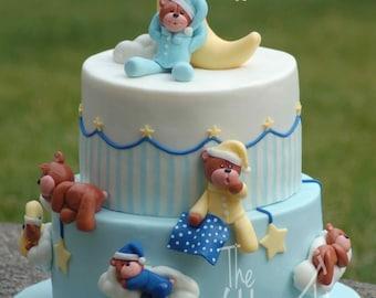 Fondant cake topper - Sleepy teddy bear cake kit - Cake not included
