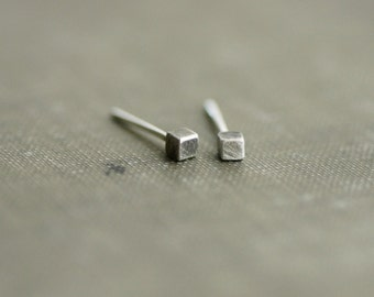 Sterling Cube Earrings - Brushed Antique Silver