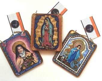 Collector gift set Retablo 3 Saint Retablos collection pick 3 Saints family gift confirmation gift baptism gift catholic saint collection