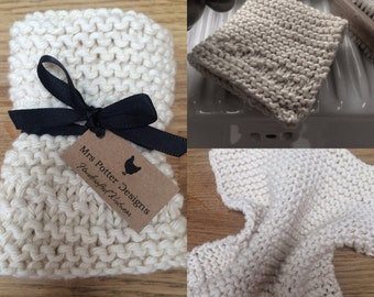 Hand knitted cotton dishcloth