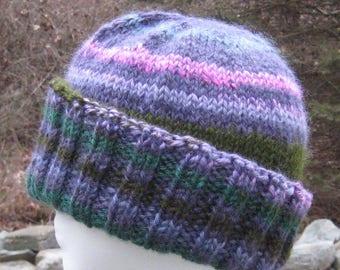 XL wool ribbed hat, hand knit, hand spun