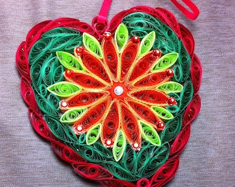 Quilled Heart ornament with rhinestones. Valentine Mother Day, all occasions.Red-orange light-dark green