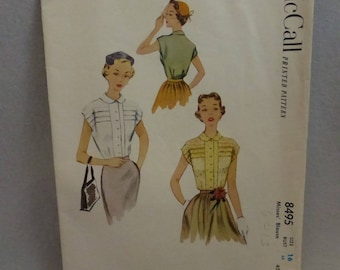 Vintage McCall Pattern 8495 Misses Size 16 Blouse with Peter Pan Collar