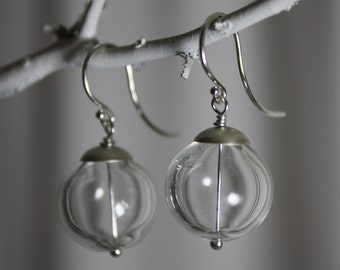 clear and sterling silver hand blown glass earrings
