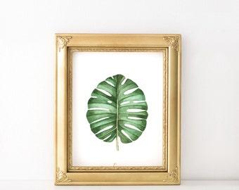 Botanical art print - Tropical leaf print - Digital wall art - Green leaf print - Botanical print - Printable leaf art - Tropical decor