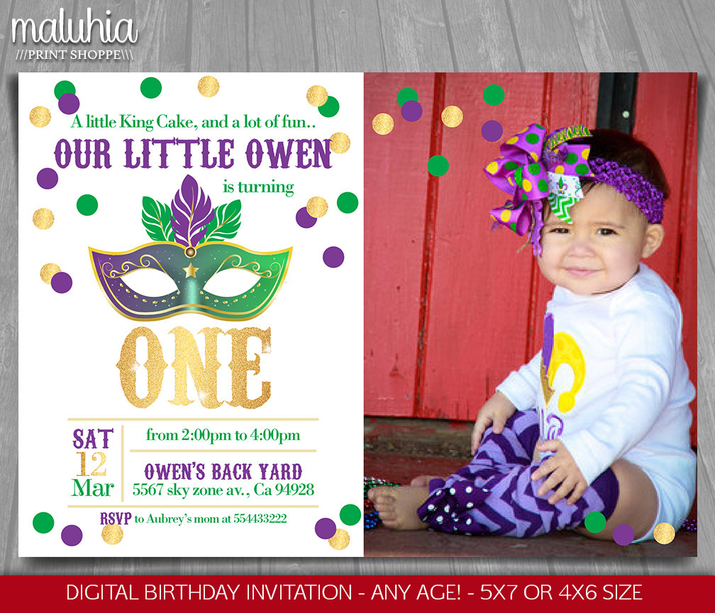 Mardi Gras Birthday Invitation Circus Party Invitation