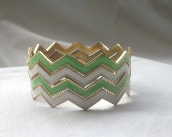 Vintage Bangle Bracelets Enamel Chevron Zig Zag Metal Bracelets