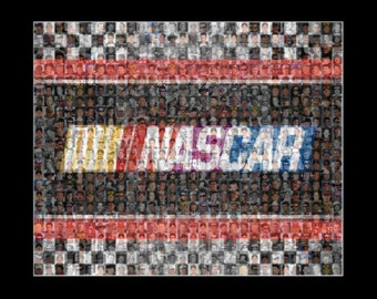 Nascar Mosaic Print Art designed using 100 of the All Time Greatest Nascar Drivers.