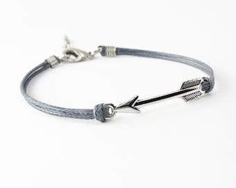 Silver Arrow Bracelet, Dark Gray Cord Bracelet, Friendship Bracelet