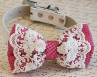 Hot Pink Lace Dog Bow Tie Collar, Pet Wedding accessory, Dog Birthday gift, Victorian