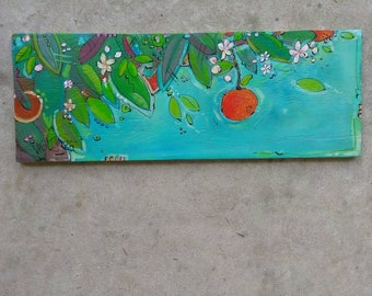 Oranges and Orange Blossoms Small/Florida Oranges/ Reclaimed Plywood/reclaimed wood/whimsical/tropical/Florida life/beach art