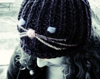 Cat hat womens beanie cat ladie black cat winter chunky wool feminine gift for her gift for gilfriend