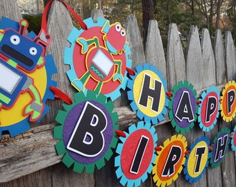 Robot Birthday Banner