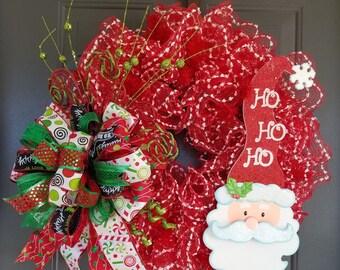 Santa Wreath; Christmas Wreath; Deco Mesh Christmas Wreath