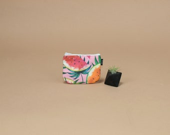 Coin Pouch in Tropical Watermelon Print.  Small Zipper Pouch, Change Purse, Zip Wallet, Gift for Her.  Made in USA.