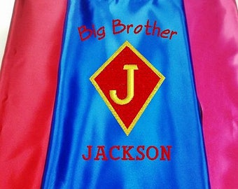 Kids Cape,  Embroidered Big Brother Cape Personalized with Name and Initial