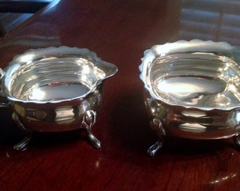 Vintage Silver Creamer & Sugar Bowl Set