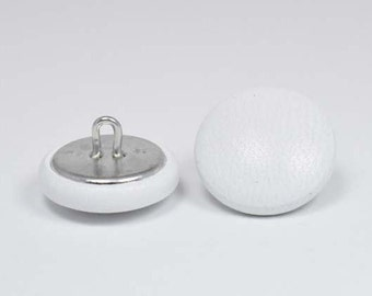 6 20mm White leather covered buttons