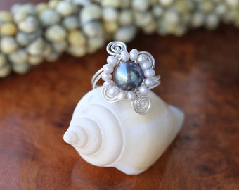 Sterling Silver Handmade Wire Wrapped Ring with Pearl
