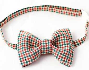 Red & Green Bowtie - Bow Tie Boys, Checkered Bow Tie for Boys, Bow Tie Toddler, Baby Check Bow Tie, Red Green Bow Tie for Boys, Boys Bowties
