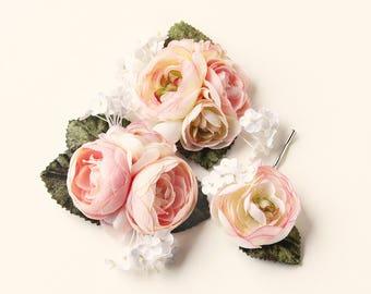 Pastel flower clip set, Ranunculus hair clips, Pink flower headpiece, bridal hair accessory, Ivory white wedding flower clips, Hair pin set