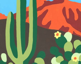 Paint by Number Kit - Bright and Colorful Dessert Landscape with Cactus (perfect for DIY paint parties)