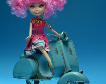Vespa driving fashion doll, Pinkie and her Vespa, Fashion Doll Photography, 8x10 or any size, Still Life Photography, Barbie Photos