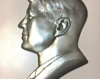Vintage Pewter Silhouette Hanging Plaque of John F. Kennedy 1960s