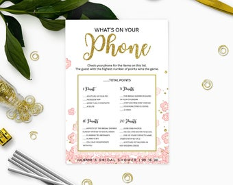 Pink and Gold What's on Your Phone Bridal Shower Game-Glitter Modern Floral Printable Personalized Bridal Shower Game-Bridal Shower Games