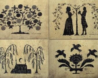 Silhouette Print, 5x7. choose Tree of life, Romance,  Serenity, or Saltbox.