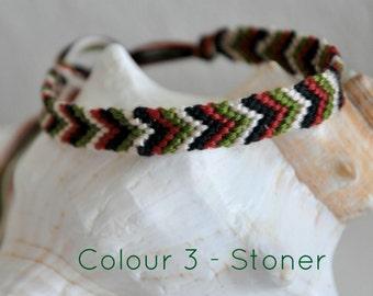 "Woven friendship bracelet/ anklet chevron arrow pattern Colour 3 ""Stoner"" | 8 strings"