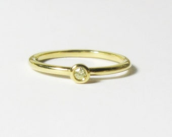 Yellow Diamond 18k Gold Stacking Ring, Engagement, Promise, Minimalist, Rose and White Gold, Made to Order