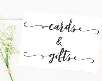 Cards and gifts printable wedding sign, Cards and gifts sign, Wedding signage, Card table sign, Gift table sign, rustic wedding sign