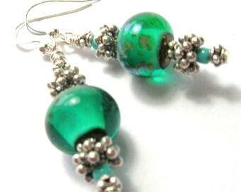 Teal Green Glass Art Bead Earrings - Sterling Silver Ear Wires - Bali Beads - Handmade Earrings