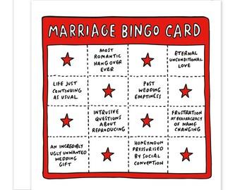 Marriage Bingo Card Funny/Sarcastic Card For Weddings