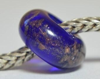 SALE - Handmade Lampwork Glass European Charm Bead with Goldstone - SRA - Fits all charm bracelets - Silver Core Options