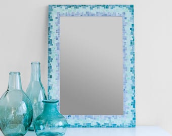 """24x34"""" Sunburst Mirror in Glass Mosaic Tiles of Blue, Green and Grey Glass Tiles - Ready to Ship"""
