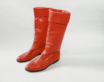 CARLA BOOTS | vintage Italian leather boots size 6.5 l red leather boots | leather boots |  vintage boots | women's shoes | Able Shoppe