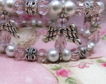 Pink Crystal Angel White Pearl & Silver Wire Bracelet
