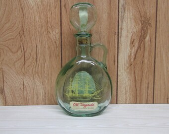 Vintage Old Fitzgerald Whiskey Sailboat Decanter/Old Ironsides Kentucky Straight Whiskey Bourbon Decanter