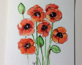 Orange Poppies Watercolor Card / Hand Painted Watercolor Card