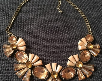 Bib Statement Necklace with Amber Colored Jewels