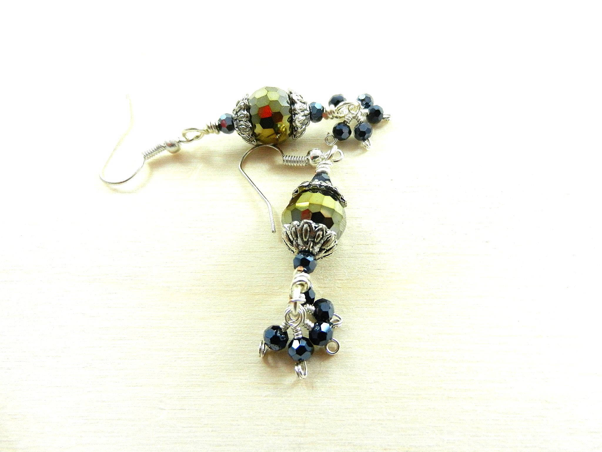 Gold Crystal Earrings with Small Blue Crystals on Silver