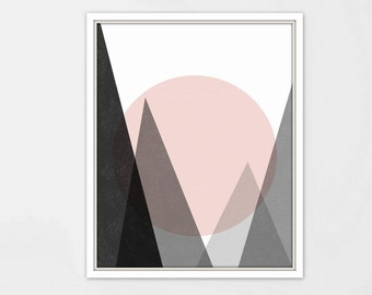 Posters Wall Art-Poster Moon Print-Mountain-Print Mountain Art-Mountain Poster-Moon Art-Geometric Decor-Geometric wall art