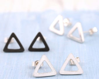 Triangle earrings | Triangle stud earrings | Geometric earrings | Silver earrings uk | Black earrings | Teen earrings