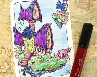 Floating Island Castle - Home Sweet Home - Original ACEO hand drawn, copic illustration, Artist Trading Card, Sketchcard 2.5 x 3.5 inches