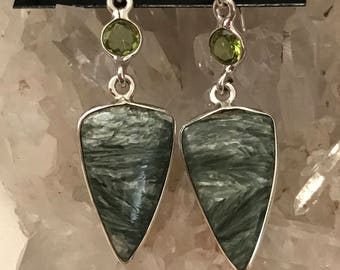 Seraphinite and Peridot Charm  Earrings