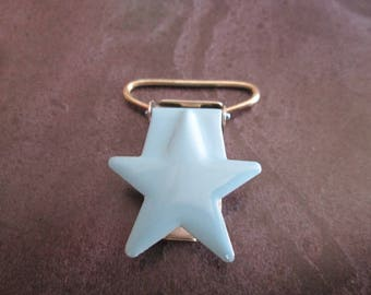 1 clip / pacifier metal star in sky blue color