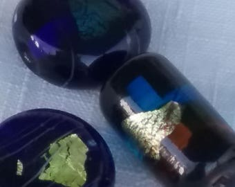 BLUE turquoise foil Vintage lampwork dichroic glass beads 20mm (3)