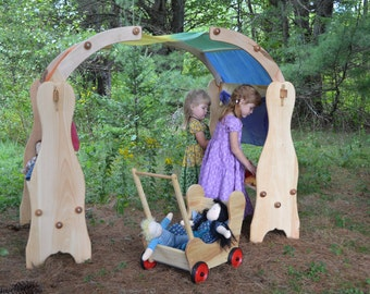 Wooden Waldorf Montessori Playstands- Pretend Play Space- Playstands Toys-Elves and Angels Davids Natural Wooden Waldorf Playstands Set